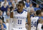 Kentucky's John Wall celebrates during the second half of an NCAA college basketball game against Miami of Ohio in Lexington, Ky., Monday, Nov. 16, 2009.  Wall hit the final shot in Kentucky's 72-70 win. (AP Photo/Ed Reinke)
