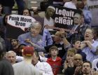 Cleveland Cavaliers fans taunt Miami Heat's LeBron James in the fourth quarter of the Cavaliers' 102-90 win in an NBA basketball game Tuesday, March 29, 2011, in Cleveland. (AP Photo/Mark Duncan)