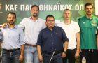 Γιώργος Βόβορας (κόουτς), Φραγκίσκος Αλβέρτης (Γενικός Διευθυντής 1), Δημήτρης Διαμαντίδης (Γενικός Διευθυντής 2), Ιωάννης Παπαπέτρου (αρχηγός) και Τάκης Τριαντόπουλος (πρόεδρος) στη συνέντευξη Τύπου