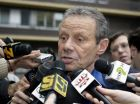 "FILE - In this , Wednesday, March 23, 2005 file photo, Palermo owner Maurizio Zamparini answers journalists' questions at the ""Lega Calcio"" headquarters in Milan, Italy.  The Italian football federation says it is investigating the president of the Palermo football club for comparing a player's agent to ""Jewish lawyers.'' Palermo president Maurizio Zamparini made the comment during an interview with SportMediaset, but says it was not meant to be anti-Semitic. (AP Photo/Luca Bruno, File)"