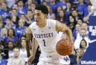Kentucky's Devin Booker plays against Montana State during the second half of an NCAA college basketball game, Sunday, Nov. 23, 2014, in Lexington, Ky. Kentucky won 86-28. (AP Photo/James Crisp)