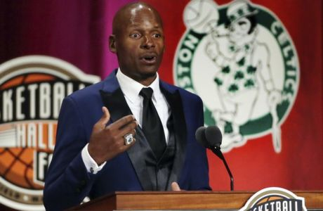 Ray Allen speaks during induction ceremonies into the Basketball Hall of Fame on Friday, Sept. 7, 2018, in Springfield, Mass. (AP Photo/Elise Amendola)