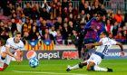 Ο Ουσμάν Ντεμπελέ σκοράρει εναντίον της Τότεναμ στους ομίλους του Champions League της σεζόν 2018/19.