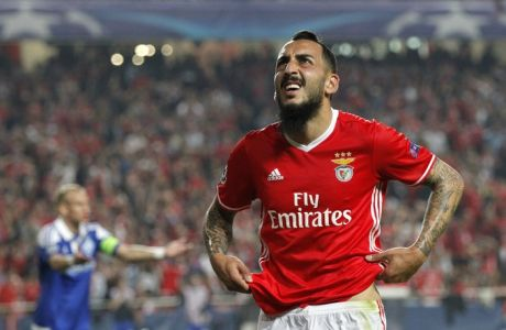 Benfica's Kostas Mitroglou reacts during the Champions League group B soccer match between Benfica and Dynamo Kiev at the Luz stadium in Lisbon, Tuesday, Nov. 1, 2016. (AP Photo/Steven Governo)