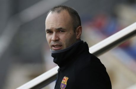 FC Barcelona's Andres Iniesta looks on during a training session at the Sports Center FC Barcelona Joan Gamper in Sant Joan Despi, Spain, Saturday, Jan. 6, 2018. FC Barcelona will play against Levante in a Spanish La Liga soccer match on Sunday. (AP Photo/Manu Fernandez)