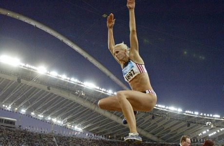 Bianca Kappler of Germany competes in the long jump final at the Olympic Stadium during the 2004 Olympic Games in Athens, Friday Aug. 27, 2004.   (AP Photo/David J. Phillip)