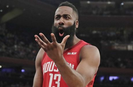 Houston Rockets' James Harden (13) argues a call with an official during the first half of the team's NBA basketball game against the New York Knicks, Wednesday, Jan. 23, 2019, in New York. (AP Photo/Frank Franklin II)
