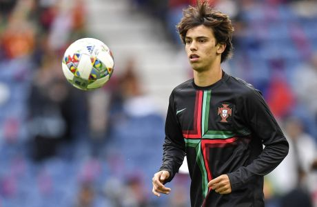 Portugal's Joao Felix warms up prior the UEFA Nations League semifinal soccer match between Portugal and Switzerland at the Dragao stadium in Porto, Portugal, Wednesday, June 5, 2019. (AP Photo/Martin Meissner)