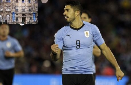 Uruguay's Luis Suarez celebrates his penalty shot against Uzbekistan during a friendly soccer match in preparation for the 2018 Russia World Cup in Montevideo, Uruguay, Thursday, June 7, 2018. (AP Photo/Matilde Campodonico)
