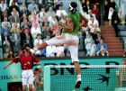 Spain's Rafael Nadal jumps after winning a set as he plays top-seeded Switzerland's Roger Federer during their semifinal match of the French Open tennis tournament, at the Roland Garros stadium, Friday June 3, 2005 in Paris.. ( AP Photo/Francois Mori)