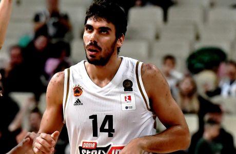 Ο Νίκος Περσίδης του Παναθηναϊκού ΟΠΑΠ σε στιγμιότυπο της αναμέτρησης με το Ρέθυμνο για την ΕΚΟ Basket League 2019-2020 στο κλειστό του ΟΑΚΑ, Κυριακή 23 Δεκεμβρίου 2019