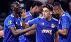 Τσιμίκας, Καμαρά και στο βάθος Σεμέδο, Ελ Αραμπί πανηγυρίζουν το γκολ του Μαροκινού στο Λονδίνο κόντρα στην Τότεναμ (4-2), σε παιχνίδι για τους ομίλους του Champions League (26/11/2019) - ΦΩΤΟΓΡΑΦΙΑ: LATO KLODIAN / EUROKINISSI