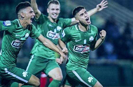 Ο Γιάννης Μπουζσούκης του Παναθηναϊκού πανηγυρίζει το γκολ που πέτυχε στον αγώνα με την Ξάνθη στην ακριτική πόλη, για τη Super League 2018-2019, Κυριακή 26 Αυγούστου 2018