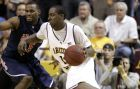 Arizona State's James Harden, right, drives against Arizona guard Jawann McClellan (5) during the second half of an NCAA basketball game Wednesday, Jan. 9, 2008 in Tempe, Ariz. Harden led all scorers with 26 points in Arizona State's 64-59 win. (AP Photo/Matt York)