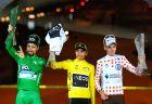 Οι τέσσερις φανέλες του περσινού Γύρου Γαλλίας. Από αριστερά, Πέτερ Σάγκαν (πράσινη), Έγαν Μπερνάλ (κίτρινη και λευκή) και Ρομέν Μπαρντέ (πουά).
