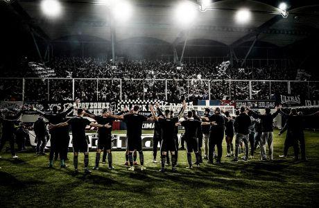 Παίκτες του ΟΦΗ σε στιγμιότυπο έπειτα από την αναμέτρηση με τη Λαμία για τη Super League 1 2019-2020 στο Γεντί Κουλέ, Κυριακή 1 Μαρτίου 2020