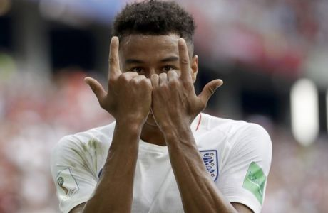 FILE - In this Sunday, June 24, 2018 file photo England's Jesse Lingard celebrates as he celebrates after scoring his team's third goal during the group G match between England and Panama at the 2018 soccer World Cup at the Nizhny Novgorod Stadium in Nizhny Novgorod , Russia. (AP Photo/Matthias Schrader, File)
