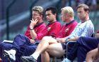 Φαν Χάαλ, Μουρίνιο, Κούμαν και Χουκ στον πάγκο της Μπαρτσελόνα το 1999.