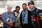 MONTE CARLO, MONACO - MAY 26:  Mark Webber (R) of Australia and Red Bull Racing talks with film director George Lucas (L) and his girlfriend Mellody Hobson (2nd left) and with actor Cuba Gooding Jr. (2nd right) following qualifying for the Monaco Formula One Grand Prix at the Circuit de Monaco on May 26, 2012 in Monte Carlo, Monaco.  (Photo by Mark Thompson/Getty Images) *** Local Caption *** Mark Webber; George Lucas; Mellody Hobson; Cuba Gooding