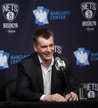 Brooklyn Nets owner Mikhail Prokhorov, of Russia, holds a news conference before an NBA basketball game between the Atlanta Hawks and the Brooklyn Nets Wednesday, April 8, 2015, in New York. (AP Photo/Jason DeCrow)
