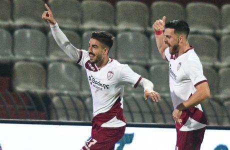 Ο Πινακάς πανηγυρίζει το τέρμα που σκόραρε για λογαριασμό της ΑΕΛ στο 1-1 με τον ΠΑΟΚ στο Αλκαζάρ, για την 14η αγ. της Super League Interwetten | 03/01/2021