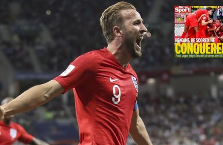 England's Harry Kane celebrates after scoring his side's second goal during the group G match between Tunisia and England at the 2018 soccer World Cup in the Volgograd Arena in Volgograd, Russia, Monday, June 18, 2018. (AP Photo/Thanassis Stavrakis)
