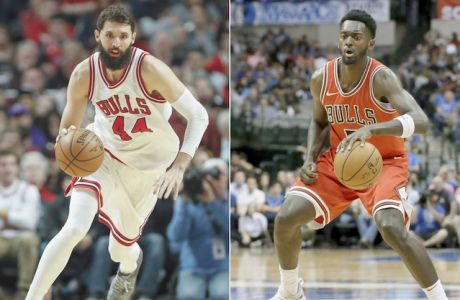 FILe - At left, in a Jan. 2, 2017, file photo, Chicago Bulls forward Nikola Mirotic brings the ball up court against the Charlotte Hornets during the second half of an NBA basketball game in Chicago. At right, in an Oct. 4, 2017, file photo, Chicago Bulls' Bobby Portis (5) handles the ball during a preseason NBA basketball game against the Dallas Mavericks, in Dallas. The Chicago Bulls have suspended forward Bobby Portis for the first eight games for injuring teammate Nikola Mirotic during a fight at practice. Mirotic suffered multiple broken bones in his face as well as a concussion on Tuesday. He will likely need surgery and is out indefinitely. The team announced the suspension on Wednesday, Oct. 18, 2017. (AP Photo/Tony Gutierrez)