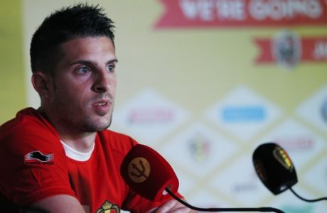 Belgium midfielder Kevin Mirallas listens to journalists' questions during a press conference at the team's training facility, in Mogi Das Cruzes, Brazil, Thursday, June 12, 2014. Belgium plays in the group H of the 2014 soccer World Cup. (AP Photo/Andrew Medichini)