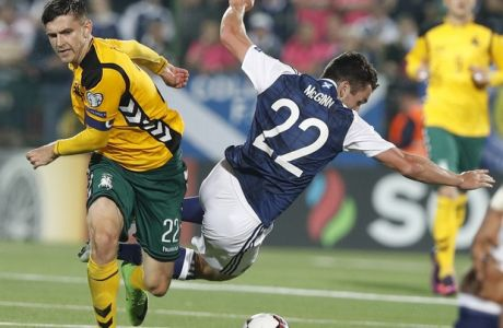 Scotland's John McGinn, right, challenges with Lithuania's Fiodor Cernych during the World Cup Group F qualifying soccer match between Lithuania and Scotland at LFF stadium in Vilnius, Lithuania, Friday, Sept. 1, 2017. (AP Photo/Mindaugas Kulbis)