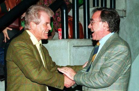 Ο Τζιλμπέρτο Μπενετόν και ο Σωκράτης Κόκκαλης στο Τρεβίζο, σε αγώνα Μπενετόν-Ολυμπιακού. Αμφότεροι πρωταγωνίστησαν στην δημιουργία της Ευρωλίγκας το 2000