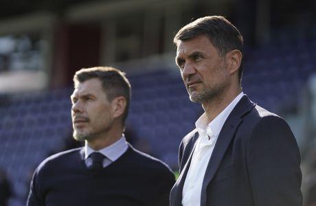Πάολο Μαλντίνι και Ζβόνιμιρ Μπόμπαν παρακολουθούν αγώνα μεταξύ Κάλιαρι και Μίλαν  (11/1/2020). Σήμερα ανακοινώθηκε από τη Μίλαν η απόλυση του Κροάτη βετεράνου