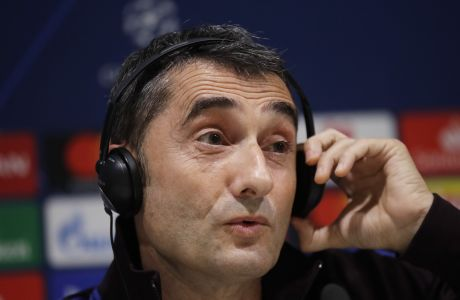 Barcelona's head coach Ernesto Valverde meets the media during a news conference ahead of Tuesday's Champions League, group F soccer match between Inter Milan and Barcelona, at the San Siro stadium in Milan, Italy, Monday, Dec. 9, 2019. (AP Photo/Luca Bruno)