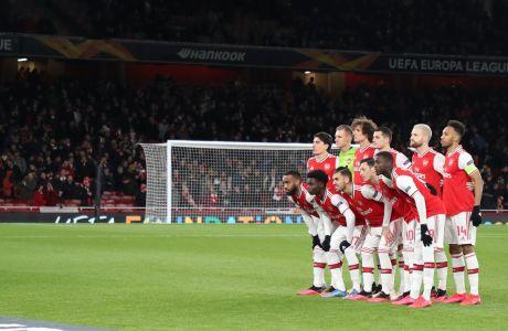 Η βασική ενδεκάδα της Άρσεναλ σε παράταξη πριν από την αναμέτρηση με τον Ολυμπιακό για τον 2ο αγώνα της φάσης των 32 του Europa League 2019-2020 στο 'Έμιρεϊτς', Λονδίνο, Πέμπτη 27 Φεβρουαρίου 2020