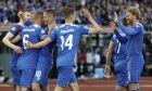 Παίκτες της Ισλανδίας πανηγυρίζουν γκολ του Ράγκναν Σίγκουρντσον στην αναμέτρηση με την Τουρκία για τη φάση των προκριματικών ομίλων του Euro 2020 στο 'Λαουγκαρνταλσβολούρ', Ρέικιαβικ | Τρίτη 11 Ιουνίου 2019