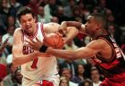 Chicago Bulls' Toni Kukoc (7) tries to drive on Atlanta Hawks' Alan Henderson during the second quarter of their second-round NBA playoff game on Tuesday, May 13, 1997, in Chicago. (AP Photo/MIchael S. Green)