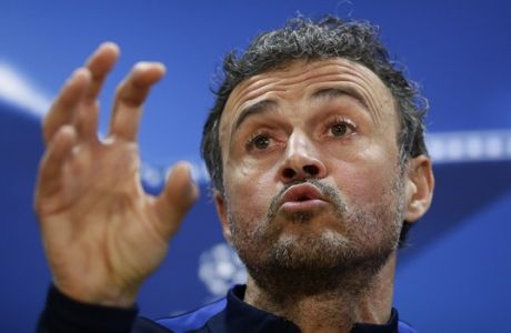 FC Barcelona's coach Luis Enrique gestures during a press conference at the Sports Center Joan Gamper in Sant Joan Despi, Spain, Tuesday, March 7, 2017. FC Barcelona will play against Paris Saint Germain in a Champions League round of 16, second leg, soccer match on Wednesday. (AP Photo/Manu Fernandez)