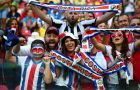 RECIFE, BRAZIL - JUNE 29:  Costa Rica fans soak up the atmosphere prior to the 2014 FIFA World Cup Brazil Round of 16 match between Costa Rica and Greece at Arena Pernambuco on June 29, 2014 in Recife, Brazil.  (Photo by Alex Grimm - FIFA/FIFA via Getty Images)