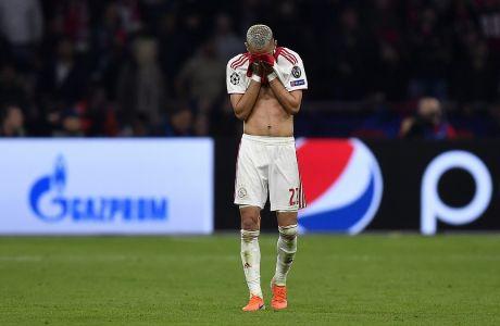 Ο Χακίμ Ζιγές του Άγιαξ σε στιγμιότυπο μετά από το τέλος του αγώνα κόντρα στην Τότεναμ, για τον δεύτερο ημιτελικό του Champions League 2018-2019, 'Γιόχαν Κρόιφ Αρένα', Άμστερνταμ, Τετάρτη 8 Μαΐου 2019