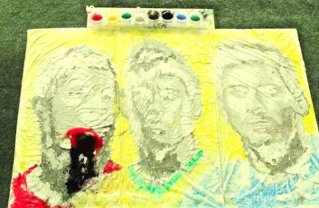 Τα πορτραίτα Νεϊμάρ, Μέσι, Ρονάλντο με μια μπάλα (VIDEO)