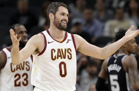 Cleveland Cavaliers forward Kevin Love (0) reacts after he was called for a personal foul during the first half of an NBA basketball game against the San Antonio Spurs, Tuesday, Jan. 23, 2018, in San Antonio. (AP Photo/Eric Gay)