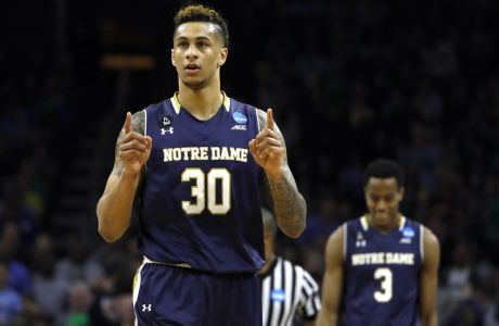 Notre Dame's Zach Auguste reacts during the second half of a regional final men's college basketball game against North Carolina in the NCAA Tournament, Sunday, March 27, 2016, in Philadelphia. (AP Photo/Matt Rourke)