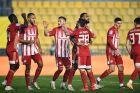 Παίκτες του Ολυμπιακού πανηγυρίζουν γκολ που σημείωσαν κόντρα στον Παναιτωλικό για τη Super League Interwetten 2020-2021 στο Γήπεδο Παναιτωλικού   Σάββατο 9 Ιανουαρίου 2021