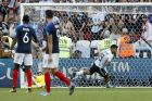 Argentina's Sergio Aguero catches the ball after scoring his side's third goal during the round of 16 match between France and Argentina, at the 2018 soccer World Cup at the Kazan Arena in Kazan, Russia, Saturday, June 30, 2018. (AP Photo/David Vincent)