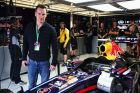 MONTREAL, QC - JUNE 08:  Actor Michael Fassbender visits the Infiniti Red Bull Racing garage before the qualifying session for the Canadian Formula One Grand Prix at the Circuit Gilles Villeneuve on June 8, 2013 in Montreal, Canada.  (Photo by Mark Thompson/Getty Images) *** Local Caption *** Michael Fassbender