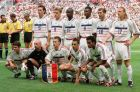 The French soccer team at the Stade de France, St. Denis, Friday July 3 1998. From left back row, Laurent Blanc, Stephane Guivarc'h, Lilian Thuram, Marcel Desailly, Zidane Zidedine, Emmanuel Petit.  Front row from left, Bixente Lizarazu, Fabien Barthez, goalkeeper, Didier Deschamps, Youri Djorkaeff and Christian Karembeu. France will play Brazil in the final of the World Cup at the Stade de France, St. Denis on Sunday July 12 1998.  Laurent Blanc will be banned from Sunday's final after being sent off for pushing Croatian defender Slaven Bilic during the semifinals of the World Cup on July 8 1998. (AP Photo/Michel Lipchitz)