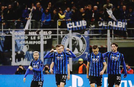 Παίκτες της Αταλάντα πανηγυρίζουν γκολ κόντρα στη Βαλένθια για τον 1ο αγώνα της φάσης των 16 του Champions League 2019-2020 στο 'Τζιουζέπε Μεάτσα', Μιλάνο, Τετάρτη 19 Φεβρουαρίου 2020