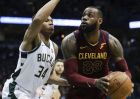 Cleveland Cavaliers' LeBron James tries to drive past Milwaukee Bucks' Giannis Antetokounmpo during the first half of an NBA basketball game Tuesday, Dec. 19, 2017, in Milwaukee. (AP Photo/Morry Gash)