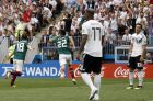 Mexico's Hirving Lozano, 2nd left, celebrates after scoring the opening goal during the group F match between Germany and Mexico at the 2018 soccer World Cup in the Luzhniki Stadium in Moscow, Russia, Sunday, June 17, 2018. (AP Photo/Victor R. Caivano)