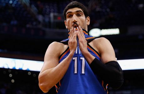 PHOENIX, AZ - FEBRUARY 08:  Enes Kanter #11 of the Oklahoma City Thunder during the NBA game against the Phoenix Suns at Talking Stick Resort Arena on February 8, 2016 in Phoenix, Arizona.  The Thunder defeated the Suns 122-106.  NOTE TO USER: User expressly acknowledges and agrees that, by downloading and or using this photograph, User is consenting to the terms and conditions of the Getty Images License Agreement.  (Photo by Christian Petersen/Getty Images)