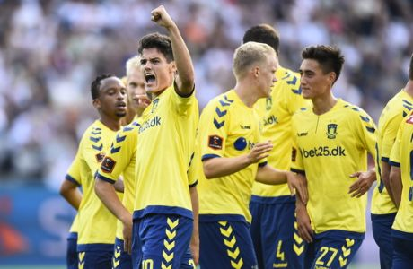 ARHUS, DENMARK - AUGUST 21: Action from the Danish Alka Superliga match between AGF Arhus and Brondby IF at Ceres Park on August 21, 2016 in Arhus, Denmark. (Photo by Jan Christensen / FrontzoneSport via Getty Images)